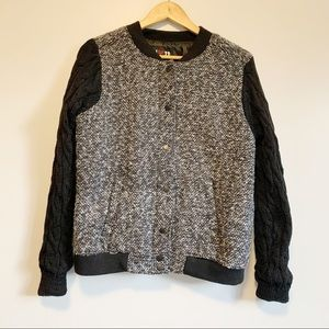 New tagged black cable knit sleeves bomber jacket